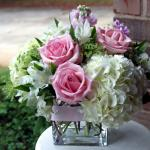 Reference #  JBS 0100 Starting at $ 54.99   White Hydrangeas with pink roses in clear square vase.  Better and Best sizes include additional roses .
