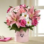 Reference # BG1d Starting at $ 45.99 This bouquet brings together pink roses, pink Asiatic Lilies, pink carnations, pink mini carnations, white traditional daisies, and lush greens to create a memorable gift.