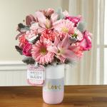 Reference # HMG Starting at $49.99 Blossoming with light and love, this fresh flower bouquet brings together hot pink roses, pink carnations, pink gerbera daisies, pink mini carnations, pink Asiatic Lilies, and dusty miller stems to create a truly stunning gift.