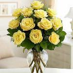 Reference # E7-4808 Starting at Sunny yellow roses are a cheery and wonderful gift. Celebrate a birthday, anniversary, graduation or welcome a beautiful new baby with this lively bouquet of roses with seeded eucalyptus in a clear glass vase.