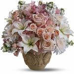 Reference #  T221-1A As shown $ 129.99  Container might not be exaxt but similar in style.  Pink blooms such as hydrangea, roses and alstroemeria are mixed with white flowers including stock, asiatic lilies and white Cremon chrysanthemums.