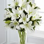 Refernce # S4-4443 From $ 99.99 A stunning bouquet of gorgeous Oriental lilies are accented with lush greens and seated in a clear glass vase to create a bouquet that is serenely sophisticated, offering comfort and peace in their time of need.