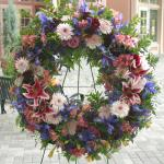 Reference # JBS 201 Standing Wreath     as shown $ 195.00 specify color choice
